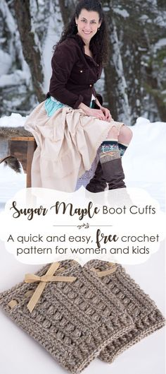 Sugar Maple Boot Cuffs Pattern This cute DIY boot cuff is a quick and easy to crochet, and is customizable for a variety of calf sizes. Make it with a bow or pom-poms, or add buttons instead! Crochet Sock Pattern Free, Crochet Headband Free, Knitting Patterns Free, Free Crochet, Crochet Patterns, Free Pattern, Irish Crochet, Crochet Ideas, Crochet Projects