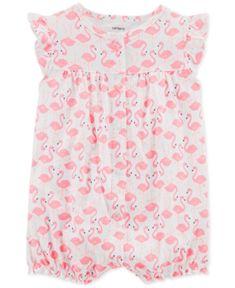 da2b56a287e4 Carter s Baby Girls Flamingo-Print Cotton Romper - Pink 18 months Baby Girl  One Pieces