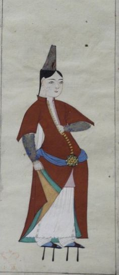 """47v Woman wearing high pattens, possibly going to the hammam. She wears tall metal headdress (tantura), brown dress with short sleeves, blue girdle with jewelled clasp, white robe and trousers.  Peter Mundy's Album, """"A briefe relation of the Turckes, their kings, Emperors, or Grandsigneurs, their conquests, religion, customes, habbits, etc""""  Istanbul 1618"""