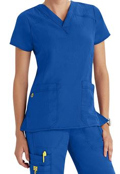 Get maximum performance with this popular scrub top from WonderWink 4-Stretch in Royal   Scrubs & Beyond