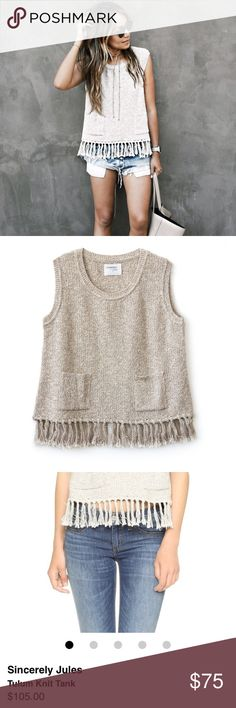 SALE Sincerely Jules Tulum Knit Fringe Tank The PERFECT spring tank! So easy to dress up or down. Runs a little small - medium could fit a small, large could fit a medium. New with tags! Sold out on Sincerely Jules website. Originally $105.  similar style to: reformation, zara, aritzia, free people, urban outfitters, brandy melville, nasty gal, for love and lemons, stone cold fox, sabo skirt, one teaspoon, wildfox Sincerely Jules Tops Tank Tops