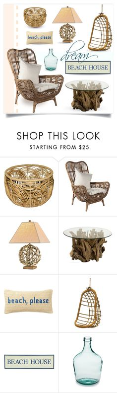 """""""driftwood and rattan beach house"""" by collagette ❤ liked on Polyvore featuring interior, interiors, interior design, home, home decor, interior decorating, Uttermost, Nordstrom Rack, Two's Company and Pier 1 Imports"""
