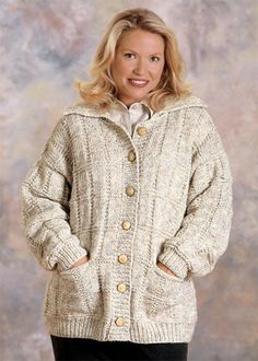 Box Stitch Cardigan Knit in Lion Brand Wool-Ease Chunky - 1195A