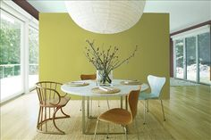 Look at the paint color combination I created with Benjamin Moore. Via @benjamin_moore. Background Wall: Martini Olive CSP-890; Side Wall: Wood Grain Brown 2109-30; Ceiling: Palladian Blue HC-144.