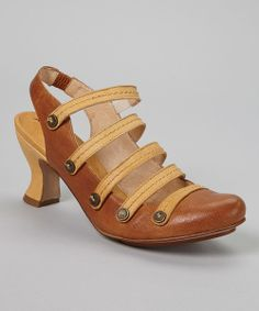 Take a look at the Camello & Mostaza Strap-Top Leather Slingback on #zulily today!