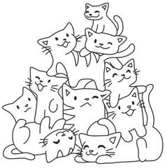 This pile o' kittens is too cute to resist! This lovable design is perfect for kids' decor, clothing, and more! Downloads as a PDF. Use pattern transfer paper to trace design for hand-stitching.