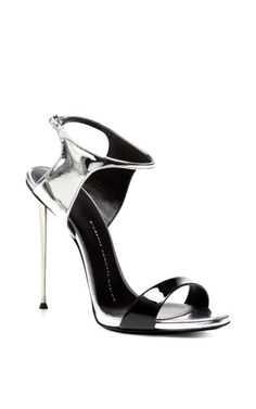 Black and Silver Sandal with Metal Heel by Giuseppe Zanotti