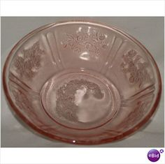 """Small Fruit/Dessert Bowl - Sharon Cabbage Rose - one of the most popular patterns among collectors of Depression glass, the Sharon pattern, also known as Rose Glow, is recognized for its timeless and classis beauty. This Pattern by Federal Glass is one of the most recognized Patterns of Depression Glass. It was introduced in 1935 and produced until 1939. Cabbage Rose Small Fruit/Dessert Bowl, approx: 5 1/8""""Dia x 1 1/8""""D; no cracks or chips"""