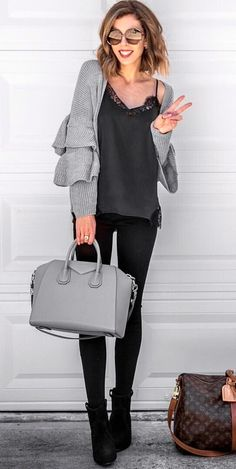 #fall #outfits women's gray cardigan with black leggings
