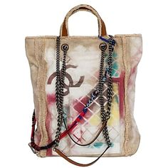Pre-owned Chanel Rare Graffiti Beige Tote Bag ($5,339) ❤ liked on Polyvore featuring bags, handbags, tote bags, beige, beige purse, pre owned purses, preowned handbags, beige handbags and chanel handbags
