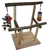 Parc pour perroquet (perchoir, parc de jeux) - Toy for parrot (perch, playground) Parrot Perch, Bird Stand, Parcs, Craft Work, Picnic Table, Playground, Crafts, Vivarium, Polka Dots