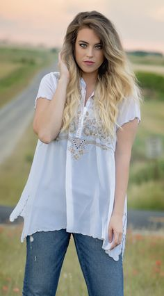 Johnny Was Collection Britta Tunic in White