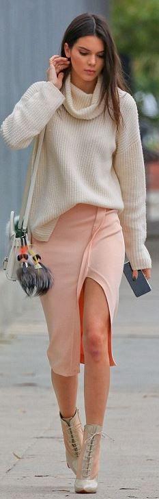 Kendall Jenner: Purse – Saint Laurent Key Chain – Fendi Sweater – Theory Skirt – Torn by Ronny Kobo Shoes – Christian Louboutin