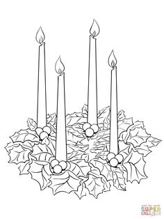 Advent wreath printable coloring pages Catholic Advent Wreath, Advent Wreath Prayers, Advent Wreath Candles, Christmas Advent Wreath, Christmas Colors, Christmas Candles, Advent Wreaths, Reindeer Christmas, Nordic Christmas