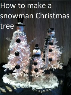 How to make your own snowman Christmas tree and snowman family from white Christmas trees  #snowmantree http://www.enchantedfloristpasadena.com/enchanted-florist-blog/how-to-make-a-snowman-christmas-tree/