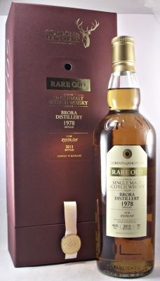 Brora 1978 Rare old Single Malt Scotch Whisky 46% 70cl A very rare single malt whisky from Brora Distllery which closed in 1983. Distilled in 1978 and bottled in 2013 by Gordon & MacPhail. Lot RO/13/05 Only 218 bottles from this Lot