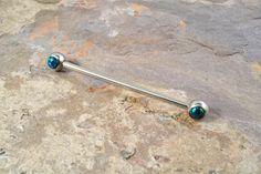 Black Opal Industrial Barbell Piercing Upper Double Ear Piercing 14 Gauge