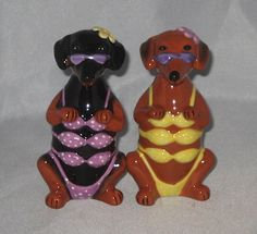 Bikini Doxie Dachshund Salt and Pepper Shakers New s P Magnetic Kissing Dogs