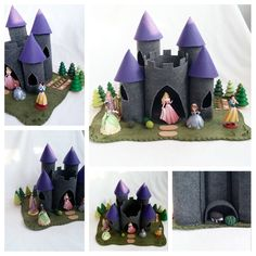 RESERVED for Alexis Purple Turret Gray Castle Playscape Play Mat felt pretend open-ended storytelling fantasy storybook fairytale Dollhouse by MyBigWorld2015 on Etsy