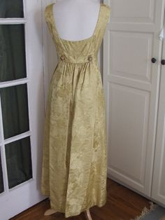 1960s Gold on Gold Brocade Evening Dress, Paneled Back, Wedding, Party, Prom, Size S/M