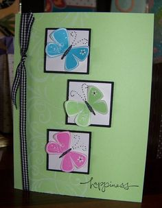 Could use the new butterfly punch and cut the big striped ribbon. Lovely card!