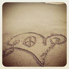 Fun writing in the sand.... Peace & love!