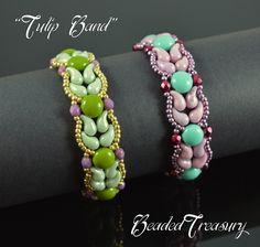 """Tulip Band"" Beading Tutorial by BeadedTreasury #bead #pattern #tulips #spring"