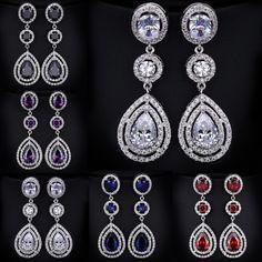 Classic Pear water drop Earrings Large CZ Crystal Long Dangle Drop Earrings For Women Wedding Bride Jewelry