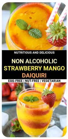 Treat your friends with a delightful, homemade, and healthy Strawberry Mango Daiquiri made with a slushy blend of strawberries and mangoes. Oh so refreshing and perfect for hot summer days! #summer #summerdrink #glutenfree #vegan #vegandrinks #strawberries #healthydrinks #strawberrydrink #mangodaiquiri #virgindaiquiri Cocktail Recipes Homemade, Drink Recipes Nonalcoholic, Flavored Water Recipes, Drinks Alcohol Recipes, Fruit Recipes, Blender Recipes, Kitchen Recipes, Easy Recipes, Summer Vegetable Recipes