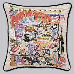Cat Studio Embroidered State Pillow - New York