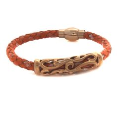 "Stainless Steel Filigree Station Woven Leather Magnet Clasp 8"" Bracelet  #SteelbyDesign #Magnetic"