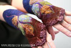 Felted Cuffs  Felted gloves  Felt hand warmers  by FeuerUndWasser
