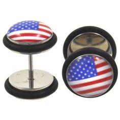 BodyDazz.com - American Flag USA Fake Plug Steel Earrings (00g Look) #GodBlessAmerica (http://www.bodydazz.com/american-flag-usa-fake-plug-steel-earrings-00g-look/)