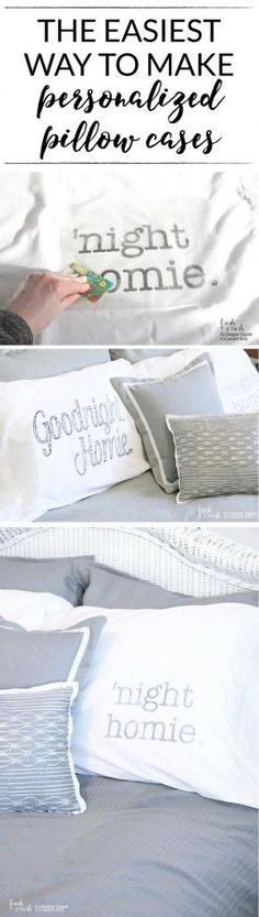 This is the most brilliant way to make DIY personalized pillow cases that I have seen! You don't need any fancy or expensive equipment or materials. Full tutorial by Fresh Crush for Designer Trapped in a Lawyer's Body. / www.designertrapped.com