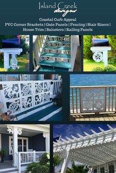 Custom Exterior PVC Vinyl Shutters w/ Nautical Cutouts, Decorative Exterior PVC House Trim, Nautical Vinyl Porch Railing Panels & Gates. Porch Trim, Front Porch, Azek Trim, Exterior Vinyl Shutters, Gable Trim, Caribbean Homes, Porch Columns, House Trim, Farm Fence
