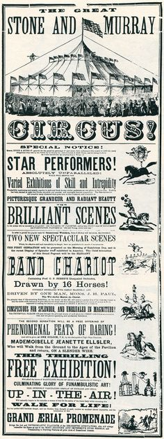 1870 poster do circo, deRob Roy Kelly's American Wood Type: Circus Art, Circus Theme, Macabre Decor, Vintage Circus Posters, Circo Vintage, Chalk Lettering, Vintage Labels, Typography Poster, Concert Posters