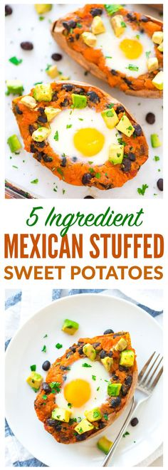 Twice Baked Mexican Stuffed Sweet Potatoes. FIVE INGREDIENTS! Easy, healthy, and filling recipe that's perfect for anytime you need a quick dinner. {gluten free; dairy-free; paleo-friendly} Recipe at wellplated.com | @wellplated