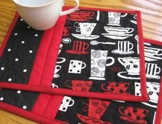 Red and White Coffee Cups on Black Mug Rugs - Set of 2. $10.00, via Etsy.