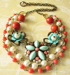Flower Necklace Statement Jewelry Beaded Necklace Coral Jewelry Emerald Necklace Multi Strand. $54.00, via Etsy.