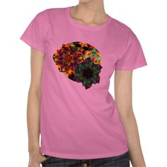 T-Shirt - Flowers & Skulls | Our Planet | Digital World series design by groovygap.com | #exoticFlowers #tshirtStyle #pinkIsCool
