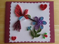 Quilled Hummingbird Flower Card by Karen Miniaci. Quilling Supplies from 'Quilled Creations'