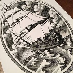 ship and artwork that will be part of my sleeve and the inspiration for the whole sleeve (the old book illustration look... love it!)