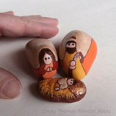 Nativity set painted on rocks with peachy or Fall hues