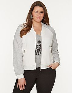 Cute and cozy with fashion sense to spare, the classic baseball jacket takes on a chic new look in a soft sweater knit. A fun piece for those in-between weather days, this charming jacket is one to love with contrasting raglan sleeves and zip-front closure, with contoured seams to keep the look tailored and flattering. Zippered pockets complete the look lanebryant.com