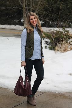 Embellished oxford button up, olive quilted vest, jeans, burgundy bag, taupe booties | I do deClaire | click through for more great casual and work outfit ideas!