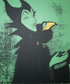 maleficent from sleeping beauty, in green, 20 x 24 silkscreen/painting on stretched canvas