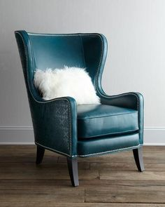 "Shop ""Glenmore"" Wing Chair from Massoud at Horchow, where you'll find new lower shipping on hundreds of home furnishings and gifts. White Dining Chairs, Accent Chairs, Blue Chairs, Wing Chairs, Arm Chairs, Lounge Chairs, My Living Room, Living Room Chairs, Dining Room"