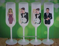 Pahare decorate pentru miri si nasi www.aranjamentedevis.ro whatsapp:0724.10.88.51