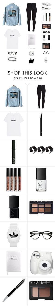 """""""30 Day Challenge: 20.] Your Fears."""" by musicsavedme1313 ❤ liked on Polyvore featuring New Look, adidas, NARS Cosmetics, ASOS, Sloane Stationery, Polaroid and Fujifilm"""