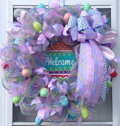 Easter Mesh Wreath With Bunny EarsEggs and by CraftinessCreations, $90.00
